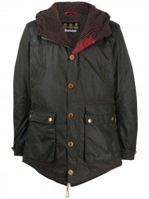 Однобортное пальто Hereford Barbour. Цвет: зеленый