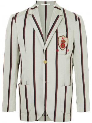 Полосатый блейзер с заплаткой на груди Kent & Curwen. Цвет: серый