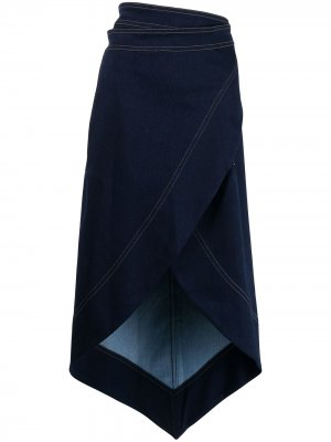 Джинсовая юбка с завышенной талией Bevza. Цвет: черный