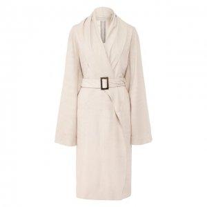 Кожаное пальто Rick Owens. Цвет: серый