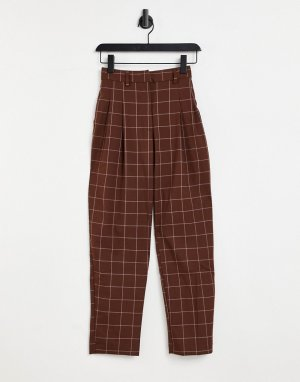 Коричневые брюки из переработанного материала в клетку Tyra-Коричневый цвет Monki