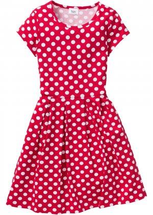 Трикотажное платье в горошек для девочки bonprix. Цвет: красный