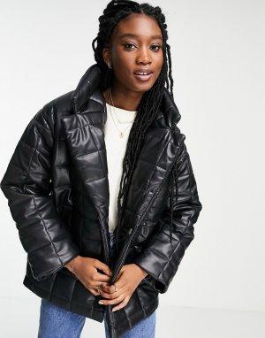 Черная стеганая куртка из искусственной кожи -Черный цвет Monki