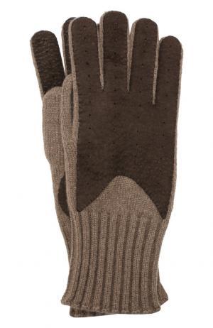 Кашемировые перчатки с отделкой из кожи Loro Piana. Цвет: коричневый