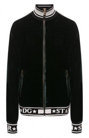 Толстовка из смеси вискозы и шелка Dolce & Gabbana. Цвет: зеленый