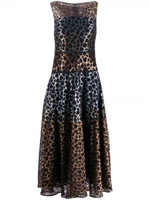 Кружевное платье с леопардовым принтом Talbot Runhof