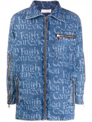 Джинсовая рубашка на молнии с логотипом Faith Connexion. Цвет: синий