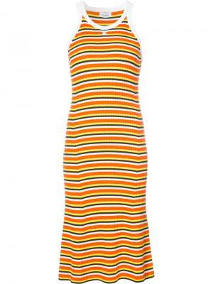 Платье-майка в полоску Courrèges. Цвет: жёлтый и оранжевый