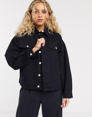 Черная джинсовая куртка -Черный Weekday