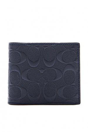 Черный кошелек из кожи Signature Coach. Цвет: синий
