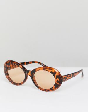 Солнцезащитные очки кошачий глаз в черепаховой оправе inspired Reclaimed Vintage. Цвет: коричневый