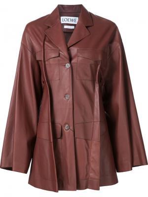 Кожаная куртка со складками Loewe. Цвет: коричневый