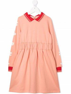 Платье с воротником поло и логотипом Marni Kids. Цвет: оранжевый