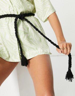 Черный пояс-веревка с кисточками SVNX