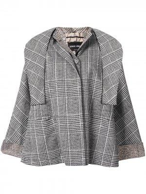 Клетчатая куртка-кейп Giorgio Armani. Цвет: черный