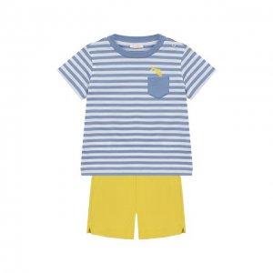 Комплект из хлопковой футболки и шорт Il Gufo. Цвет: жёлтый