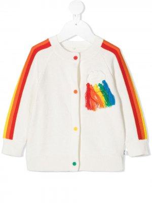 Кардиган с разноцветными вставками Stella McCartney Kids. Цвет: белый