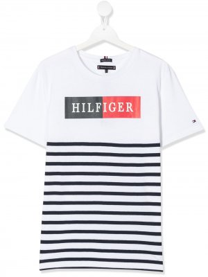 Футболка с логотипом Tommy Hilfiger Junior. Цвет: белый