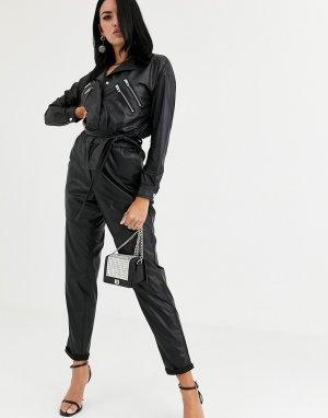 Комбинезон в стиле 80-х из искусственной кожи Blank NYC-Черный NYC