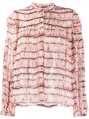 Рубашка Mari с принтом тай-дай и оборками Ulla Johnson. Цвет: розовый