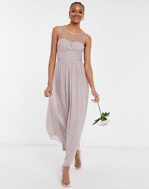 Серовато-бежевое шифоновое платье макси с искусственным жемчугом Bridesmaid-Розовый цвет Little Mistress
