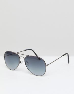 Черные солнцезащитные очки-авиаторы New Look. Цвет: черный