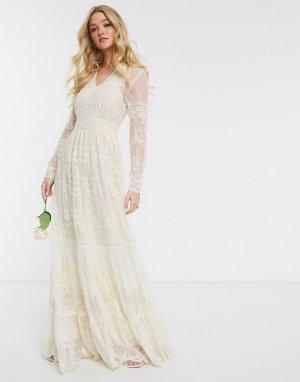Свадебное кружевное платье макси кремового цвета с глубоким вырезом -Кремовый Y.A.S