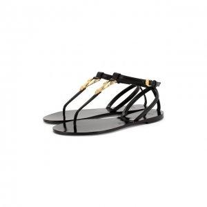 Кожаные сандалии Virtus Versace. Цвет: чёрный