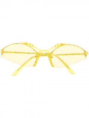 Солнцезащитные очки в полуободковой оправе Gentle Monster. Цвет: желтый
