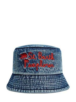 Шляпа из хлопкового денима с эффектом кислотной стирки MC2 SAINT BARTH. Цвет: синий