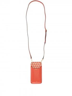 Картхолдер с геометричным узором и ланъярдом Anya Hindmarch. Цвет: оранжевый