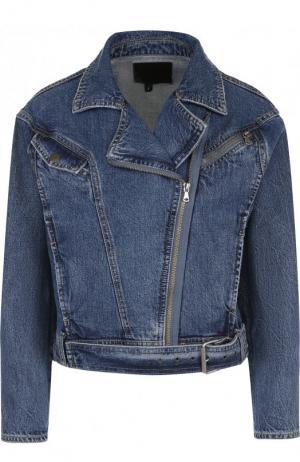 Укороченная джинсовая куртка с потертостями Paige. Цвет: синий
