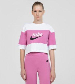 Футболка женская Sportswear Varsity, размер 46-48 Nike. Цвет: белый
