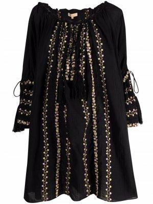 Платье с цветочной вышивкой byTiMo. Цвет: черный