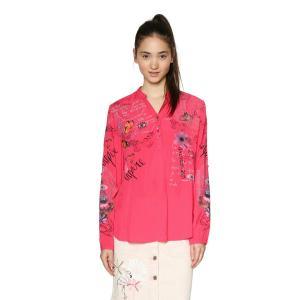 Блузка с V-образным вырезом, цветочным рисунком и длинными рукавами DESIGUAL. Цвет: розовый