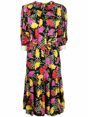 Платье 1980-х годов с цветочным узором Céline Pre-Owned. Цвет: черный