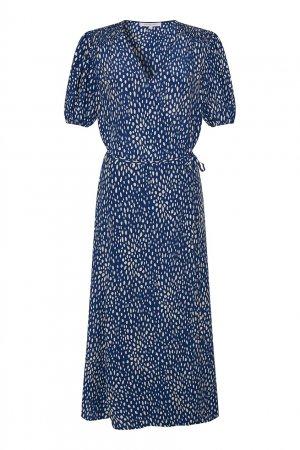 Платье-миди цвета индиго с принтом Gerard Darel. Цвет: синий