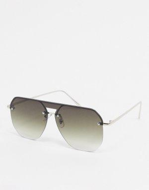 Серебристые солнцезащитные очки-авиаторы без оправы -Серебряный AJ Morgan