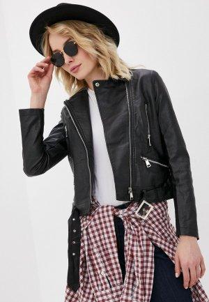 Куртка кожаная Macleria. Цвет: черный