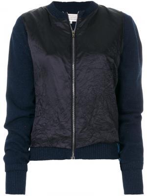 Трикотажная куртка-бомбер Maison Margiela. Цвет: синий