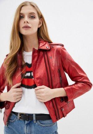 Куртка кожаная Zadig & Voltaire LENNI CUIR MET. Цвет: красный