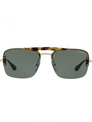 Солнцезащитные очки в квадратной оправе Prada Eyewear. Цвет: коричневый