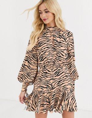 Платье с длинными рукавами и тигровым принтом -Мульти Finders Keepers