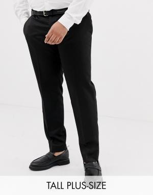 Черные брюки под смокинг Big & Tall River Island. Цвет: черный
