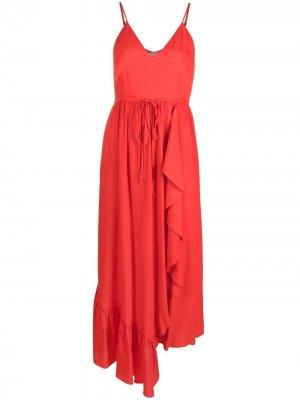 Платье асимметричного кроя с драпировкой TWINSET. Цвет: красный