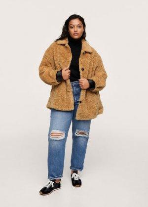 Шуба с карманами - Furry Mango. Цвет: коричневый средний