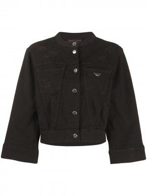 Джинсовая куртка с рукавами три четверти Emporio Armani. Цвет: черный