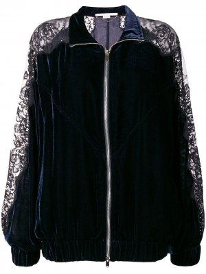Куртка-бомбер с кружевными панелями Stella McCartney. Цвет: синий