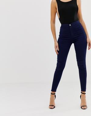 Облегающие джинсы с завышенной талией -Синий Liquor N Poker