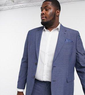 Синий приталенный пиджак в клетку Big & Tall-Голубой Burton Menswear